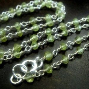 Shop Peridot Bead Shapes! FINISHED Rosary Chain, Peridot 925 Sterling Silver, SELECT a SIZE, High Quality 3mm Wire Wrapped Beads, Brides, Wholesale Chain | Natural genuine other-shape Peridot beads for beading and jewelry making.  #jewelry #beads #beadedjewelry #diyjewelry #jewelrymaking #beadstore #beading #affiliate #ad