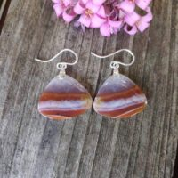 Petrified Wood Earrings. Sterling Silver Wood Earrings. Fossilized Wood Earrings | Natural genuine Gemstone jewelry. Buy crystal jewelry, handmade handcrafted artisan jewelry for women.  Unique handmade gift ideas. #jewelry #beadedjewelry #beadedjewelry #gift #shopping #handmadejewelry #fashion #style #product #jewelry #affiliate #ad