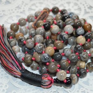 Shop Petrified Wood Necklaces! Fossilized Petrified Wood Mala Beads Necklace Aaa Mantra Beads Yoga Jewelry Statement Gemstone Necklace Japa Mala Beads 108 Knotted Necklace | Natural genuine Petrified Wood necklaces. Buy crystal jewelry, handmade handcrafted artisan jewelry for women.  Unique handmade gift ideas. #jewelry #beadednecklaces #beadedjewelry #gift #shopping #handmadejewelry #fashion #style #product #necklaces #affiliate #ad
