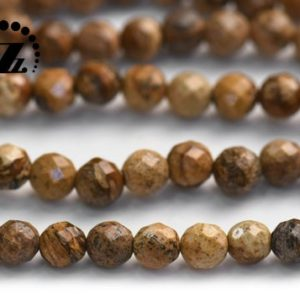 "Shop Picture Jasper Faceted Beads! Picture Jasper,faceted(128 faces) round beads,Natural Gemstone Micro Faceted Round Loose Beads, wholesale supply, 8mm ,15"" full strand 