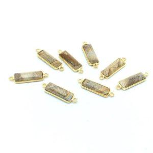 Shop Picture Jasper Faceted Beads! Gold Vermeil | Silver Faceted Cut Stone Rectangle Shaped Picture Jasper Bezel Pendant | Connector- Measuring 5mm X 15mm – Sold Per Piece | Natural genuine faceted Picture Jasper beads for beading and jewelry making.  #jewelry #beads #beadedjewelry #diyjewelry #jewelrymaking #beadstore #beading #affiliate #ad
