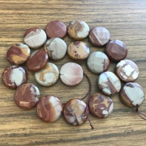 Shop Picture Jasper Faceted Beads! Natural Red Picture Jasper Assorted Size Faceted Flat coin Gemstone Beads -15.5 inch strand | Natural genuine faceted Picture Jasper beads for beading and jewelry making.  #jewelry #beads #beadedjewelry #diyjewelry #jewelrymaking #beadstore #beading #affiliate #ad