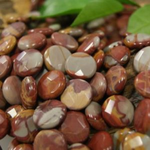 Shop Picture Jasper Faceted Beads! Natural Red Picture Jasper Assorted Size Faceted Coin Gemstone Beads -15 inch strand | Natural genuine faceted Picture Jasper beads for beading and jewelry making.  #jewelry #beads #beadedjewelry #diyjewelry #jewelrymaking #beadstore #beading #affiliate #ad