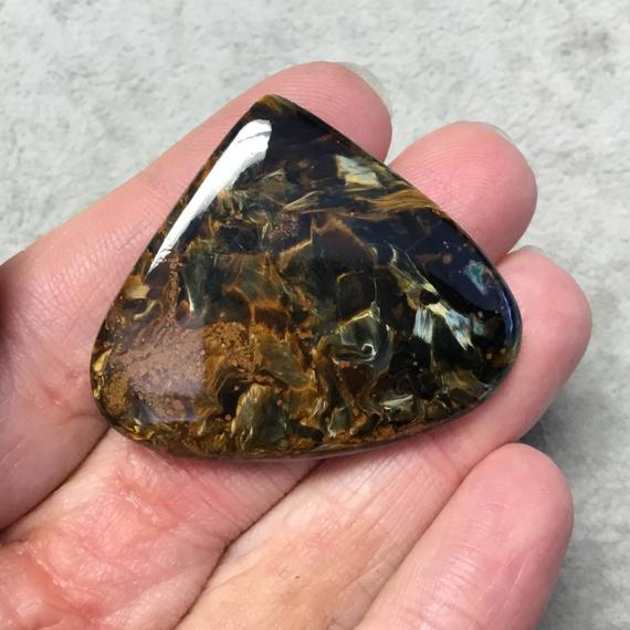 """Ooak Natural Namibian Pietersite Pear/teardrop Shaped Flat Back Cabochon """"9""""- Measuring 45mm X 38mm, 5mm Dome Height - High Quality Gemstone"""