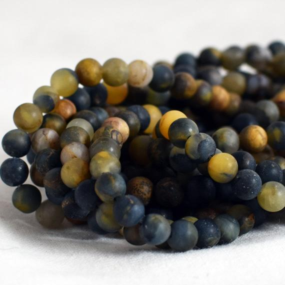 """High Quality Grade A Natural Golden Pietersite - Frosted / Matte - Semi-precious Gemstone Round Beads - 6mm, 8mm, 10mm - 15.5"""" Strand"""