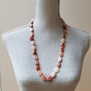 Shop Mookaite Jasper Necklaces! Pink Beige Mookaite Jasper Necklace – hand-knotted with love – | Natural genuine Mookaite Jasper necklaces. Buy crystal jewelry, handmade handcrafted artisan jewelry for women.  Unique handmade gift ideas. #jewelry #beadednecklaces #beadedjewelry #gift #shopping #handmadejewelry #fashion #style #product #necklaces #affiliate #ad