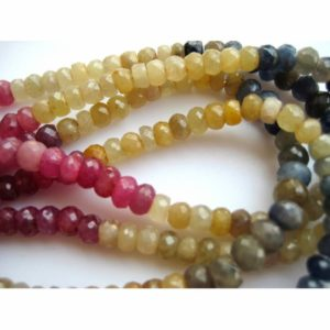 Shop Pink Sapphire Beads! Multi Sapphire Faceted Rondelle Beads 5mm Yellow Blue Pink Sapphire Faceted Beads/ 110 Pieces Approx/ 16 Inch Strand   Natural genuine faceted Pink Sapphire beads for beading and jewelry making.  #jewelry #beads #beadedjewelry #diyjewelry #jewelrymaking #beadstore #beading #affiliate #ad