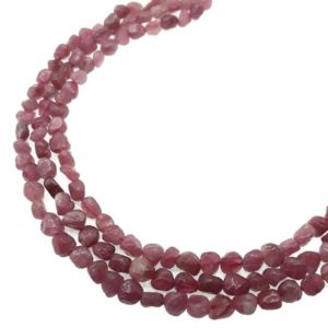 """Shop Pink Tourmaline Beads! Natural Pink Tourmaline Irregular Pebble Nuggets Beads Approx 5x6mm 15.5"""" Strand 