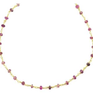 Shop Pink Tourmaline Necklaces! Pink Tourmaline Necklace Beaded Chain Link 14k Gold Filled 18 19 Inches Just Earthy Pink Stones Small Dainty Unique Spyglass Designs | Natural genuine Pink Tourmaline necklaces. Buy crystal jewelry, handmade handcrafted artisan jewelry for women.  Unique handmade gift ideas. #jewelry #beadednecklaces #beadedjewelry #gift #shopping #handmadejewelry #fashion #style #product #necklaces #affiliate #ad