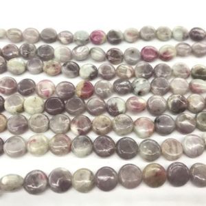 Genuine Pink Tourmaline 8mm – 20mm Flat Round Natural Loose Coin Beads 15 Inch Jewelry Supply Bracelet Necklace Material Support Wholesale | Natural genuine other-shape Gemstone beads for beading and jewelry making.  #jewelry #beads #beadedjewelry #diyjewelry #jewelrymaking #beadstore #beading #affiliate #ad