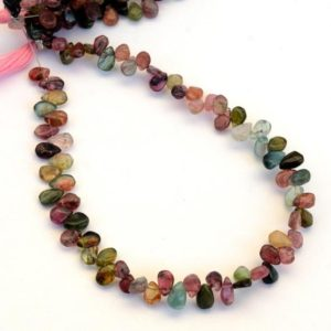 Shop Pink Tourmaline Bead Shapes! Multi Tourmaline Pear Shaped Smooth Briolette Beads, 5mm to 6mm/6mm to 7mm Green/Pink Tourmaline Beads, Sold As 9 Inch Strand, GDS2075 | Natural genuine other-shape Pink Tourmaline beads for beading and jewelry making.  #jewelry #beads #beadedjewelry #diyjewelry #jewelrymaking #beadstore #beading #affiliate #ad