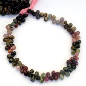 Shop Pink Tourmaline Bead Shapes! Multi Tourmaline Drop Shaped Smooth Briolette Beads, 5mm to 7mm/7mm to 9mm Green/Pink Tourmaline Beads, Sold As 10 Inch Strand, GDS2074 | Natural genuine other-shape Pink Tourmaline beads for beading and jewelry making.  #jewelry #beads #beadedjewelry #diyjewelry #jewelrymaking #beadstore #beading #affiliate #ad