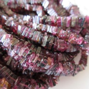 Natural Pink Tourmaline Heishi Beads, Heishi Pink Tourmaline Beads, Natural Pink Tourmaline Heishi, 5mm Tourmaline Beads 16 Inches, GDS1125 | Natural genuine other-shape Gemstone beads for beading and jewelry making.  #jewelry #beads #beadedjewelry #diyjewelry #jewelrymaking #beadstore #beading #affiliate #ad