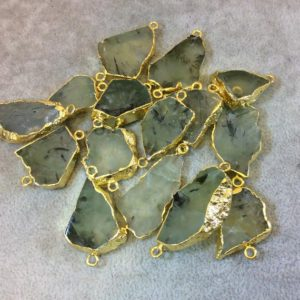 Shop Prehnite Chip & Nugget Beads! Medium Sized Gold Plated Natural Raw Prehnite Freeform Slab Shaped Connectors – Measuring 20mm x 30mm, Approx. – Sold Individually, Random | Natural genuine chip Prehnite beads for beading and jewelry making.  #jewelry #beads #beadedjewelry #diyjewelry #jewelrymaking #beadstore #beading #affiliate #ad