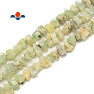 """Shop Prehnite Chip & Nugget Beads! Prehnite Rough Nugget Chunks Center Drill Beads Approx 8x15mm 15.5"""" Strand 