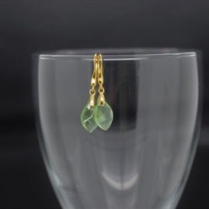 Shop Prehnite Earrings! Prehnite Briolette Dangle / Faceted Marquis Drop Earrings – Gold Vermeil | Natural genuine Prehnite earrings. Buy crystal jewelry, handmade handcrafted artisan jewelry for women.  Unique handmade gift ideas. #jewelry #beadedearrings #beadedjewelry #gift #shopping #handmadejewelry #fashion #style #product #earrings #affiliate #ad
