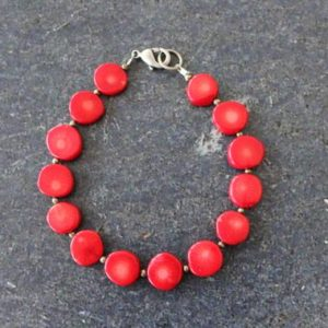 Shop Pyrite Bracelets! Red Coral Bracelet, Red Coral Coin Beaded Bracelet, Pyrite, Red Coral Statement Jewelry, Antique Silver, Coral Jewelry, Red Bracelet   Natural genuine Pyrite bracelets. Buy crystal jewelry, handmade handcrafted artisan jewelry for women.  Unique handmade gift ideas. #jewelry #beadedbracelets #beadedjewelry #gift #shopping #handmadejewelry #fashion #style #product #bracelets #affiliate #ad