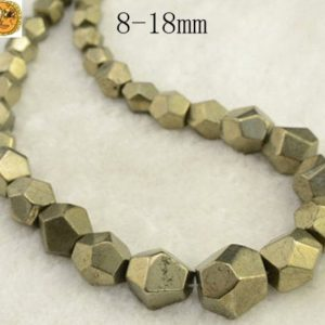 Iron pyrite,15 inch full strand Iron pyrite faceted graduated nugget beads,golden brass beads 8-18mm | Natural genuine chip Pyrite beads for beading and jewelry making.  #jewelry #beads #beadedjewelry #diyjewelry #jewelrymaking #beadstore #beading #affiliate #ad