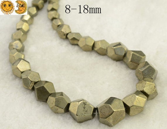 Iron Pyrite,15 Inch Full Strand Iron Pyrite Faceted Graduated Nugget Beads,golden Brass Beads 8-18mm