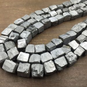 "Silver Pyrite Cube Nuggets Titanium Iron Pyrite Nugget Cube Beads 10-12mm Rough Stone Loose beads Natural Gemstone 15.5"" full strand 