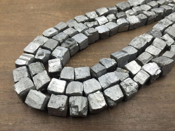 """Silver Pyrite Cube Nuggets Titanium Iron Pyrite Nugget Cube Beads 10-12mm Rough Stone Loose Beads Natural Gemstone 15.5"""" Full Strand"""