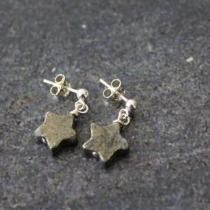 Shop Pyrite Earrings! Pyrite Star Post Earrings, Pyrite Earrings, Pyrite Jewelry, Pyrite Star Jewelry, Sterling Silver, Dangle Star Earrings, Celestial Earrings | Natural genuine Pyrite earrings. Buy crystal jewelry, handmade handcrafted artisan jewelry for women.  Unique handmade gift ideas. #jewelry #beadedearrings #beadedjewelry #gift #shopping #handmadejewelry #fashion #style #product #earrings #affiliate #ad