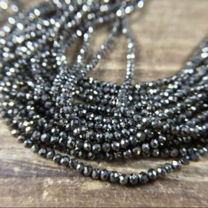 """Shop Pyrite Faceted Beads! 2mm Micro Faceted Pyrite Round Beads AAA Natural Iron Pyrite Beads Tiny Small Beads Gemstone Beads Supplies Jewelry Beads 15.5"""" Full Strand 