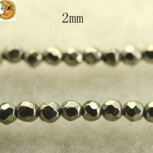 Shop Pyrite Beads! Iron pyrite,15 inch full strand Iron pyrite faceted (64 faces) round beads,golden brass beads 2mm 3mm for Choice | Natural genuine beads Pyrite beads for beading and jewelry making.  #jewelry #beads #beadedjewelry #diyjewelry #jewelrymaking #beadstore #beading #affiliate #ad