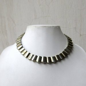 Shop Pyrite Necklaces! Natural Pyrite Gold Layout Necklace, Bib Necklace, Cleopatra Necklace, Graduated Collar Necklace, 12x9mm To 15x11mm, 17 Inch, GDS977 | Natural genuine Pyrite necklaces. Buy crystal jewelry, handmade handcrafted artisan jewelry for women.  Unique handmade gift ideas. #jewelry #beadednecklaces #beadedjewelry #gift #shopping #handmadejewelry #fashion #style #product #necklaces #affiliate #ad