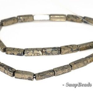 13x4mm Iron Pyrite Intrusion Gemstone Black Gold Square Tube Loose Beads 7 Inch Half Strand (90144916-417) | Natural genuine other-shape Gemstone beads for beading and jewelry making.  #jewelry #beads #beadedjewelry #diyjewelry #jewelrymaking #beadstore #beading #affiliate #ad