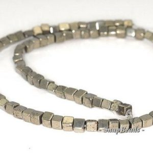 Shop Pyrite Bead Shapes! 4mm Palazzo Iron Pyrite Gemstone Perfect Square Cube 4x4mm Loose Beads 16 Inch Full Strand (90145085-410) | Natural genuine other-shape Pyrite beads for beading and jewelry making.  #jewelry #beads #beadedjewelry #diyjewelry #jewelrymaking #beadstore #beading #affiliate #ad
