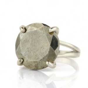 Shop Pyrite Rings! Pyrite Ring In Silver · Round Cocktail Gem Ring · Round Cut Pyrite Ring · Semiprecious Ring · Large Prong Ring · Pyrite Iron Ring | Natural genuine Pyrite rings, simple unique handcrafted gemstone rings. #rings #jewelry #shopping #gift #handmade #fashion #style #affiliate #ad