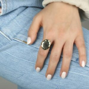 Shop Pyrite Rings! Silver Pyrite Ring · Gemstone Ring · Silver Oval Ring · Semiprecious Ring · 15ct Stone Ring · Pyrite Iron Ring · Handmade Ring | Natural genuine Pyrite rings, simple unique handcrafted gemstone rings. #rings #jewelry #shopping #gift #handmade #fashion #style #affiliate #ad