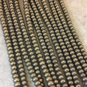 """Shop Pyrite Rondelle Beads! 4mm X 6mm Smooth Metallic Pyrite Rondelle Shaped Beads With 1mm Holes – 16"""" Strand (approx. 100 Beads) – Natural Semi-precious Gemstone   Natural genuine rondelle Pyrite beads for beading and jewelry making.  #jewelry #beads #beadedjewelry #diyjewelry #jewelrymaking #beadstore #beading #affiliate #ad"""