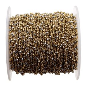 Shop Pyrite Rondelle Beads! 5 Feet Natural Pyrite Beaded Chain Wire Wrapped Rondelle Beads Rosary Style Chain, Chain By The Foot, Rc39   Natural genuine rondelle Pyrite beads for beading and jewelry making.  #jewelry #beads #beadedjewelry #diyjewelry #jewelrymaking #beadstore #beading #affiliate #ad