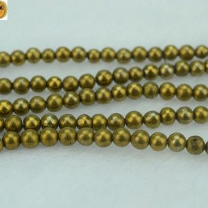 Shop Pyrite Round Beads! Iron Pyrite, 15 Inch Full Strand Titanium Iron Pyrite Smooth Round Beads, golden Color 3mm | Natural genuine round Pyrite beads for beading and jewelry making.  #jewelry #beads #beadedjewelry #diyjewelry #jewelrymaking #beadstore #beading #affiliate #ad