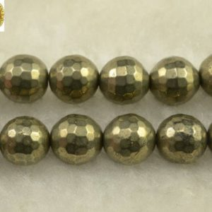 """Shop Pyrite Round Beads! Iron pyrite faceted(128 faces) round beads,golden brass,wholesale,jewelry making 6mm 8mm 10mm 12mm,15"""" full strand 