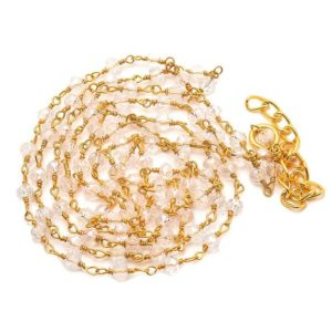 Shop Quartz Crystal Rondelle Beads! 5 Feet Crystal Quartz Gold Wire Wrapped Rondelle Beads, Rosary Style Chain, Chain By The Foot, Beaded Chain, Rc61 | Natural genuine rondelle Quartz beads for beading and jewelry making.  #jewelry #beads #beadedjewelry #diyjewelry #jewelrymaking #beadstore #beading #affiliate #ad