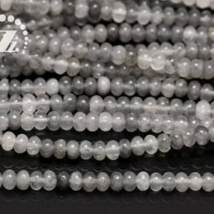 """Shop Quartz Crystal Rondelle Beads! Gray Crystal Quartz smooth rondelle space bead,abacus bead,Crystal Quartz,Cloud Crystal,Natural,AB Grade,4x6mm 5x8mm 6x10mm,15"""" full strand 