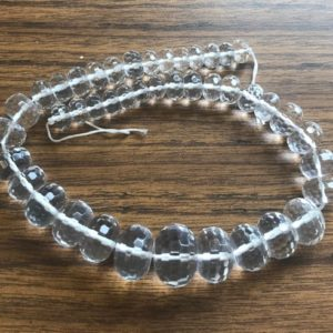 Shop Quartz Crystal Rondelle Beads! Natural Clear Quartz 10x6mm–20x15mm Rondelle Graduated Gemstone Beads – 15.5 inches strand   Natural genuine rondelle Quartz beads for beading and jewelry making.  #jewelry #beads #beadedjewelry #diyjewelry #jewelrymaking #beadstore #beading #affiliate #ad