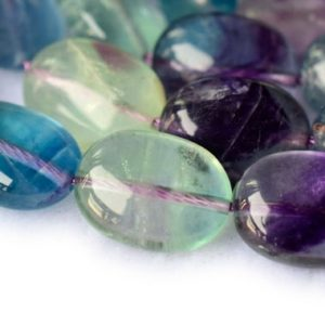 """15"""" Rainbow fluorite  10x14mm oval beads, gemstone ,natural semi-precious stone oval 
