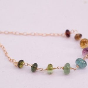 Shop Watermelon Tourmaline Necklaces! Rainbow Tourmaline Necklace, Watermelon Tourmaline necklace Gold filled, Gemstone necklace, Dainty Tourmaline Choker Necklace | Natural genuine Watermelon Tourmaline necklaces. Buy crystal jewelry, handmade handcrafted artisan jewelry for women.  Unique handmade gift ideas. #jewelry #beadednecklaces #beadedjewelry #gift #shopping #handmadejewelry #fashion #style #product #necklaces #affiliate #ad