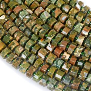 Shop Rainforest Jasper Beads! 10×8-10x6MM Rhyolite Gemstone Faceted Cylinder Wheel Tube Loose Beads (S5) | Natural genuine faceted Rainforest Jasper beads for beading and jewelry making.  #jewelry #beads #beadedjewelry #diyjewelry #jewelrymaking #beadstore #beading #affiliate #ad