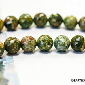 Shop Rainforest Jasper Beads! M/ Rhyolite 14mm/ 12mm/ 10mm Faceted Round beads 16 inches long Nice Quality Natural green with brown Rhyolite  Not Dyed Rainforest Jasper | Natural genuine faceted Rainforest Jasper beads for beading and jewelry making.  #jewelry #beads #beadedjewelry #diyjewelry #jewelrymaking #beadstore #beading #affiliate #ad
