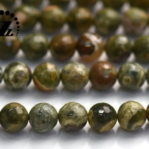 """Shop Rainforest Jasper Beads! Rhyolite Rainforest Jasper,faceted (128 Faces) Round Beads,natural,gemstone,Green Rainforest,6mm 8mm for choice,15"""" full strand 