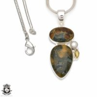 Rhyolite Pendant 4mm Italian Snake Chain P8475 | Natural genuine Gemstone jewelry. Buy crystal jewelry, handmade handcrafted artisan jewelry for women.  Unique handmade gift ideas. #jewelry #beadedjewelry #beadedjewelry #gift #shopping #handmadejewelry #fashion #style #product #jewelry #affiliate #ad