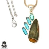 Rhyolite Pendant 4mm Italian Snake Chain P7525 | Natural genuine Gemstone jewelry. Buy crystal jewelry, handmade handcrafted artisan jewelry for women.  Unique handmade gift ideas. #jewelry #beadedjewelry #beadedjewelry #gift #shopping #handmadejewelry #fashion #style #product #jewelry #affiliate #ad