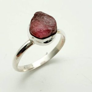 Shop Watermelon Tourmaline Rings! Raw Tourmaline Ring 925 Silver, Watermelon Tourmaline Ring, Natural Tourmaline Rings, rough Tourmaline Rings, gemstone Rings, Lazuritegems | Natural genuine Watermelon Tourmaline rings, simple unique handcrafted gemstone rings. #rings #jewelry #shopping #gift #handmade #fashion #style #affiliate #ad