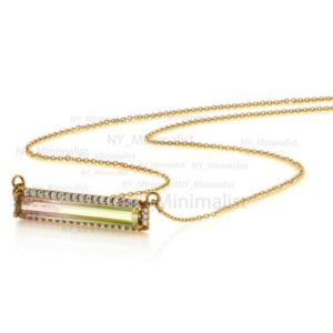 Shop Watermelon Tourmaline Necklaces! Natural Rectangle Shape Watermelon Tourmaline Gemstone Diamond Solid 14K Yellow Gold Pendant Necklace Handmade Jewelry Gift For Her | Natural genuine Watermelon Tourmaline necklaces. Buy crystal jewelry, handmade handcrafted artisan jewelry for women.  Unique handmade gift ideas. #jewelry #beadednecklaces #beadedjewelry #gift #shopping #handmadejewelry #fashion #style #product #necklaces #affiliate #ad
