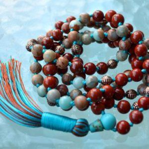 108 Mala Necklace, Buddhist Prayer Bead, Japa Mala Beads, Red Jasper & Aqua TeRra for Spirituality, Deepening Meditation Practice and De | Natural genuine Gemstone necklaces. Buy crystal jewelry, handmade handcrafted artisan jewelry for women.  Unique handmade gift ideas. #jewelry #beadednecklaces #beadedjewelry #gift #shopping #handmadejewelry #fashion #style #product #necklaces #affiliate #ad